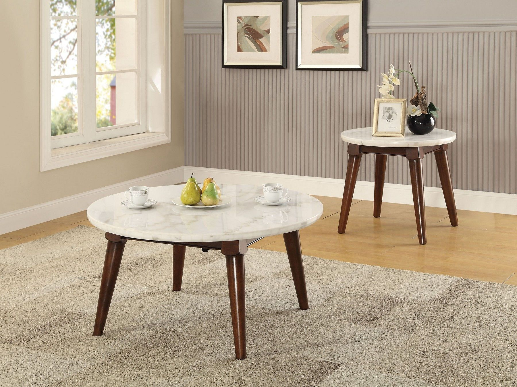 Acme corporation gasha white marble top round coffee table