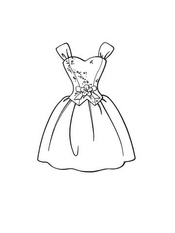 Beautiful Dress Coloring Page From Clothes And Shoes Category Select From 24652 Printable Craft Coloring Pages For Girls Barbie Coloring Pages Barbie Coloring