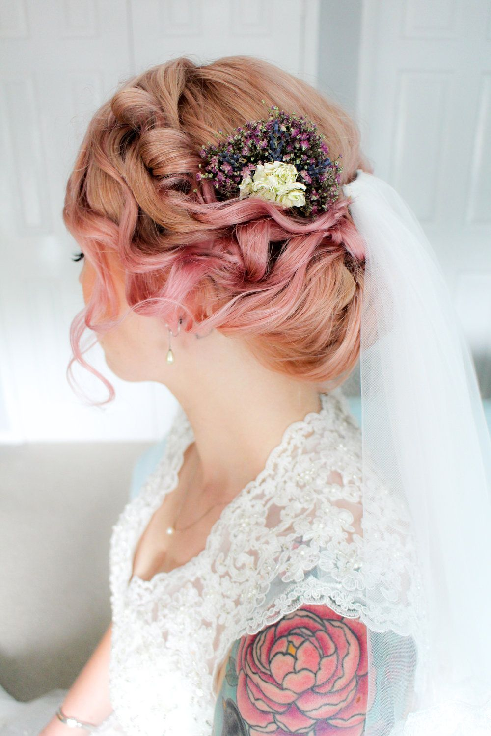 gibson roll, pink hair | weddings: beauty | hair, wedding