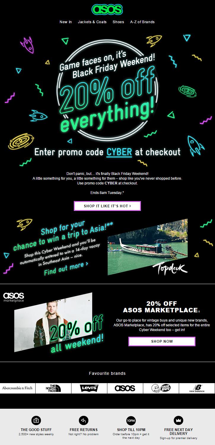 Asos Black Friday 20 Off Everything Promotion Black Friday Email Design Black Friday Web Email Design Inspiration