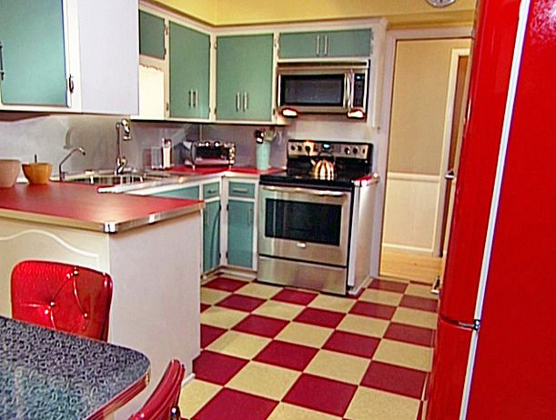 Bold Red Mint Green Retro Kitchen Checked Floor