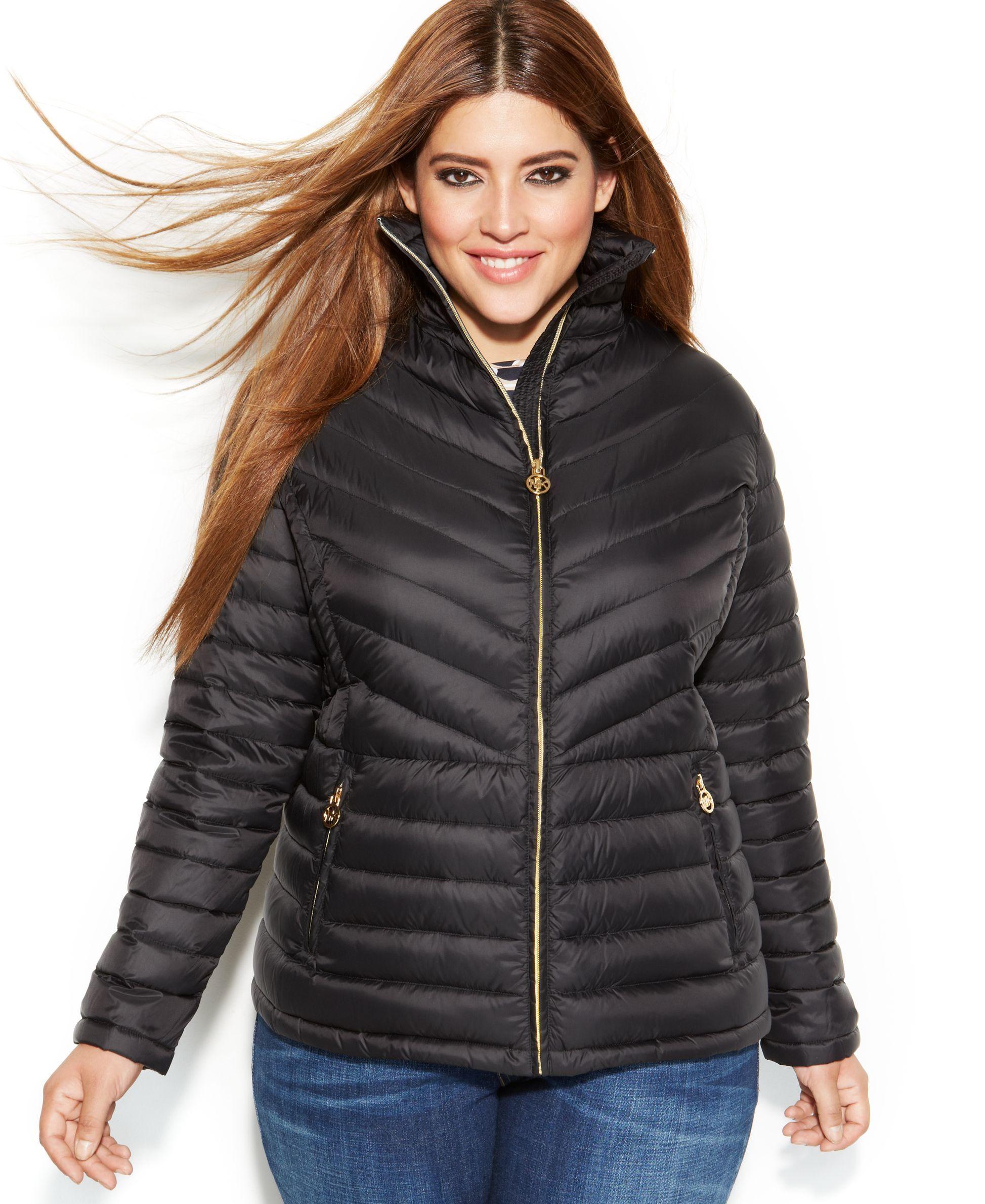 3e2745000ec Michael Michael Kors Plus Size Chevron-Quilted Packable Down Coat ...