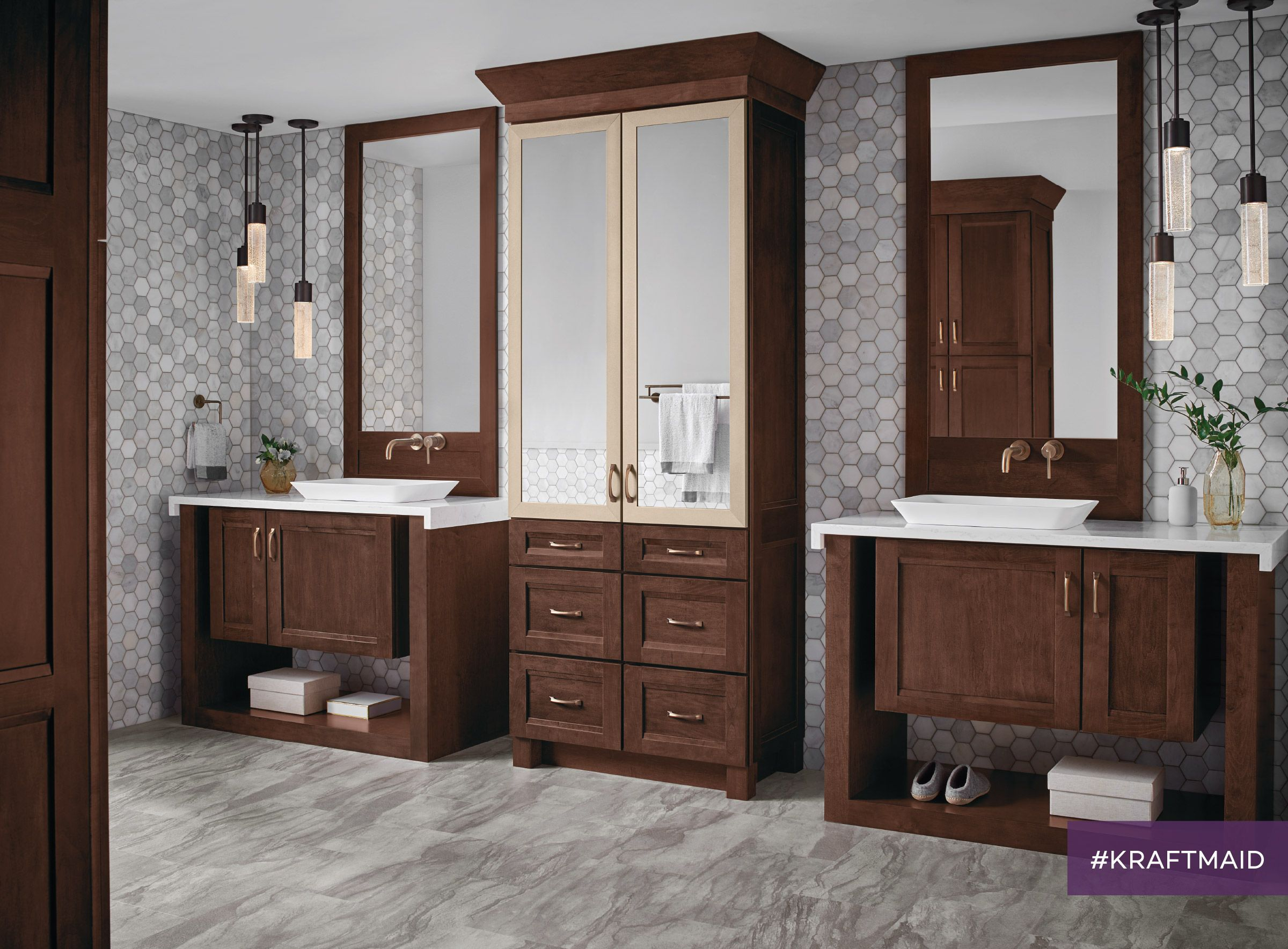 With Floor To Ceiling Linen Cabinets And Two Vanities This Bathroom Is Both Stylish And
