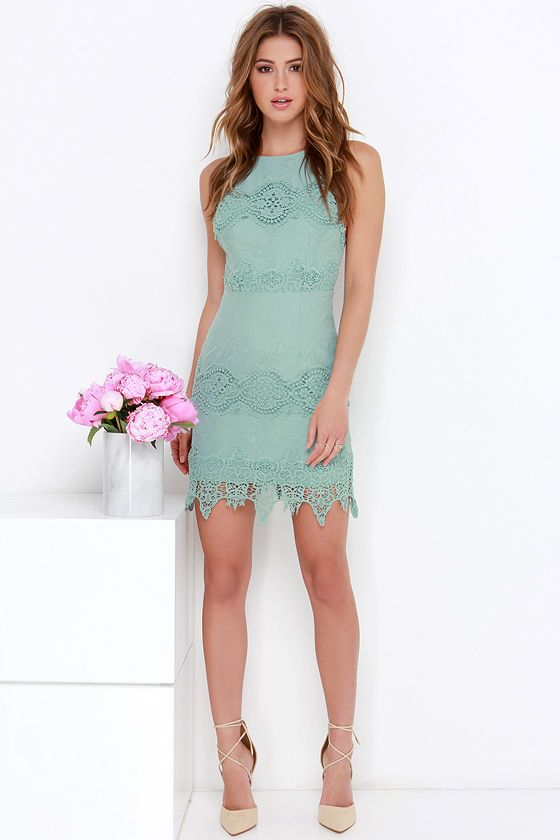 a538049d7c2 Worth It Sage Green Backless Lace Dress
