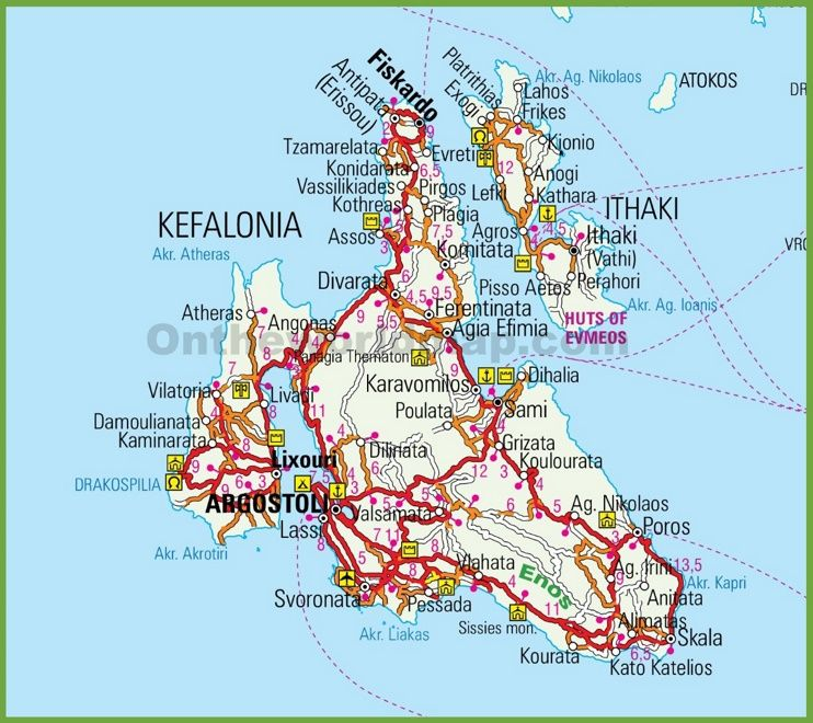 Kefalonia Greece Map Kefalonia road map | Kefalonia in 2019 | Greece vacation, Greece