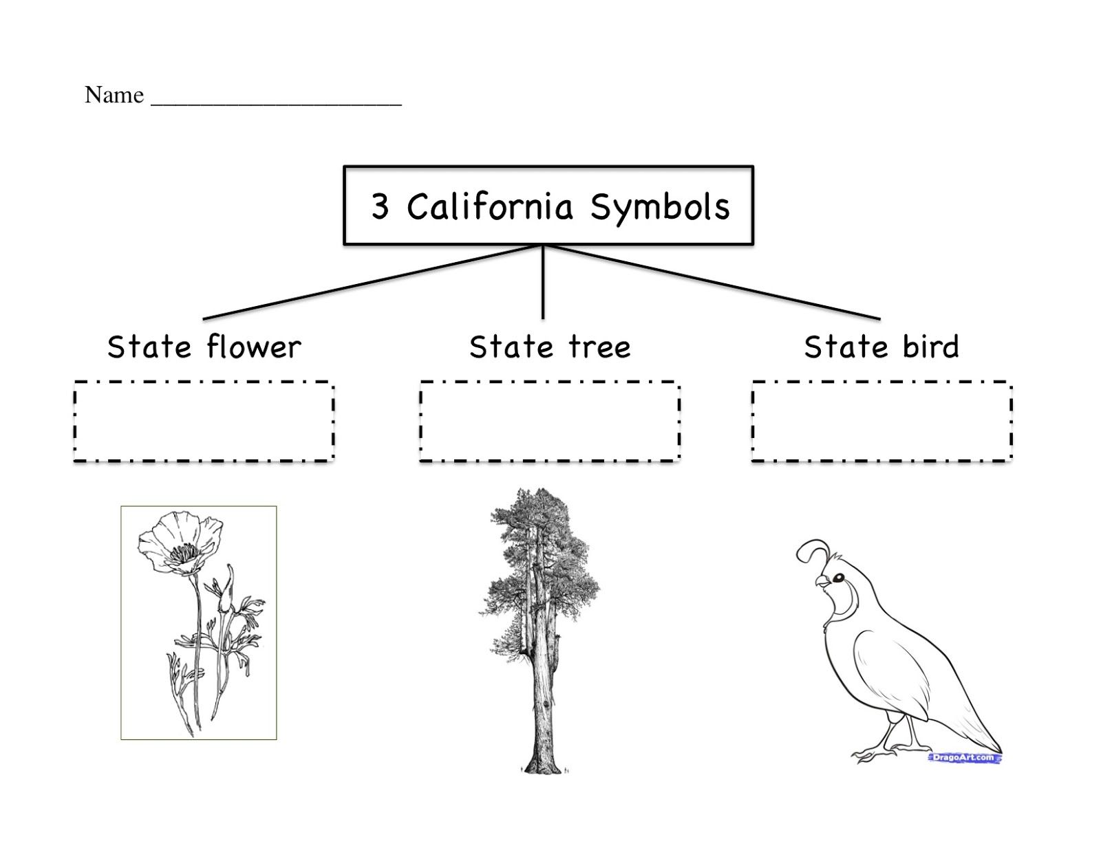 Free Worksheet Labeling The California Symbols Kinder