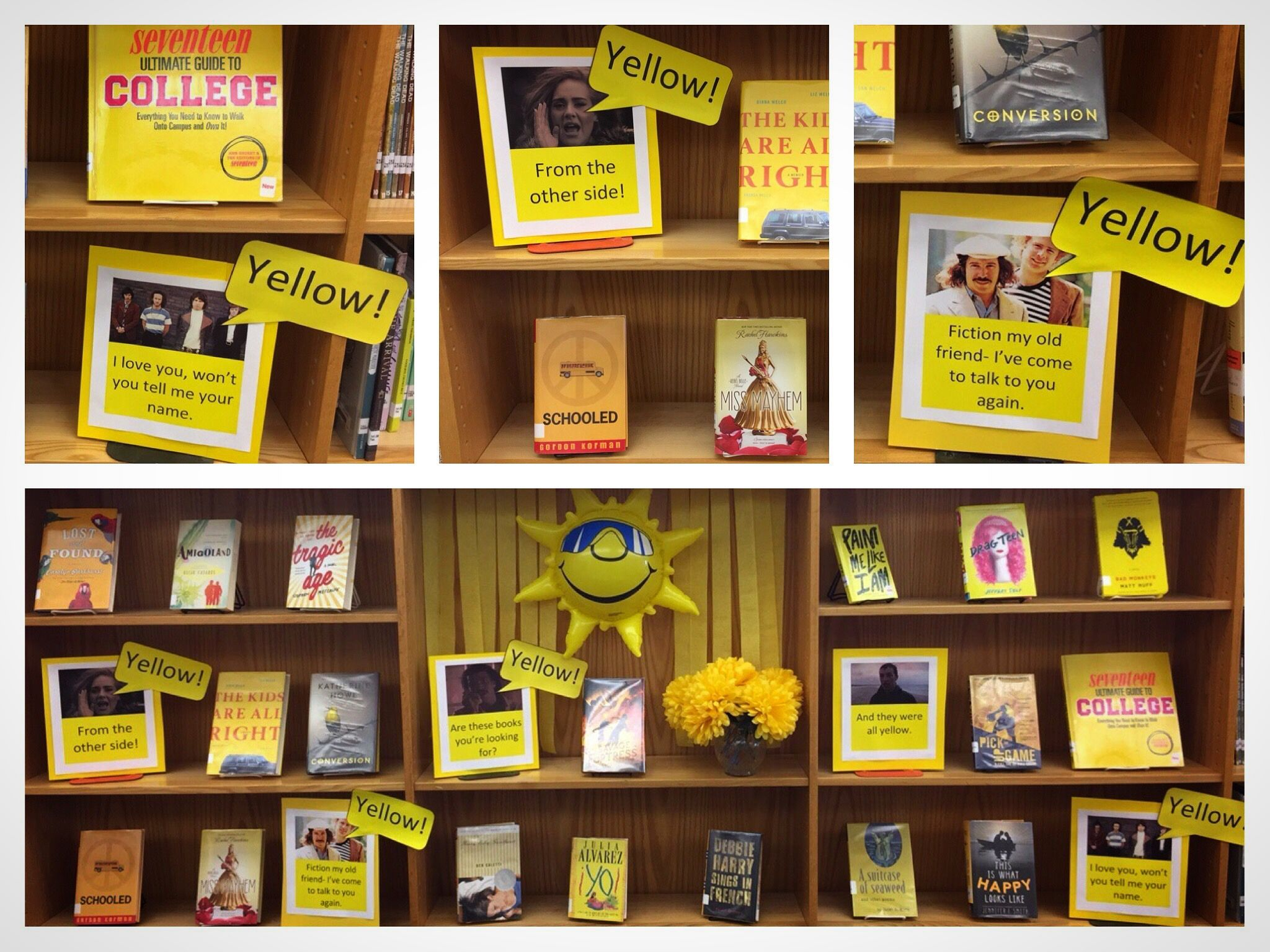 Yellow Book Display Using Pins And Songs Hello Yellow From