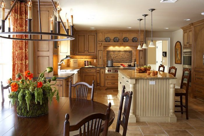 The plates above the stove/venta hood French Country Kitchen Design ...