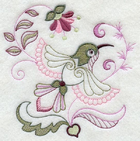 EMBROIDERED  QUILT BLOCKS JACOBEAN HUMMERS