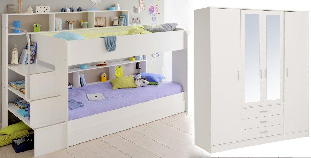 Schlafzimmer Set 3-tlg inkl 90x200 Etagenbett, Bettschubkasten u