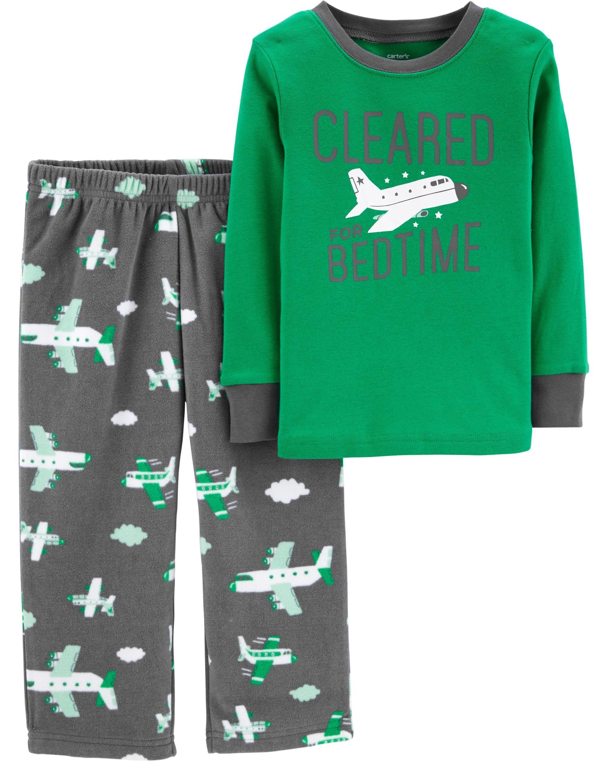 eff403a484 Toddler Boy 2-Piece Airplane Cotton   Fleece PJs