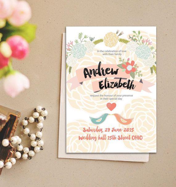 Romantic Rose Pastel Love Birds Wedding Invitation suite set