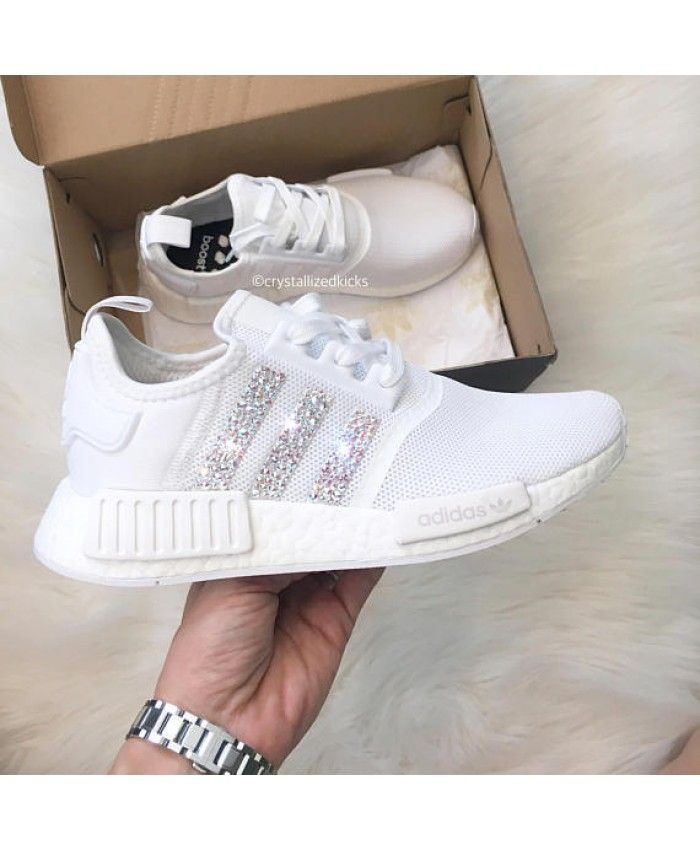 low priced 41133 96f94 Adidas NMD Runner Womens White Trainers with Swarovski Crystals