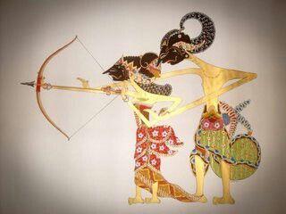 Srikandi Arjuna Lukisan Seni Gambar Simpel