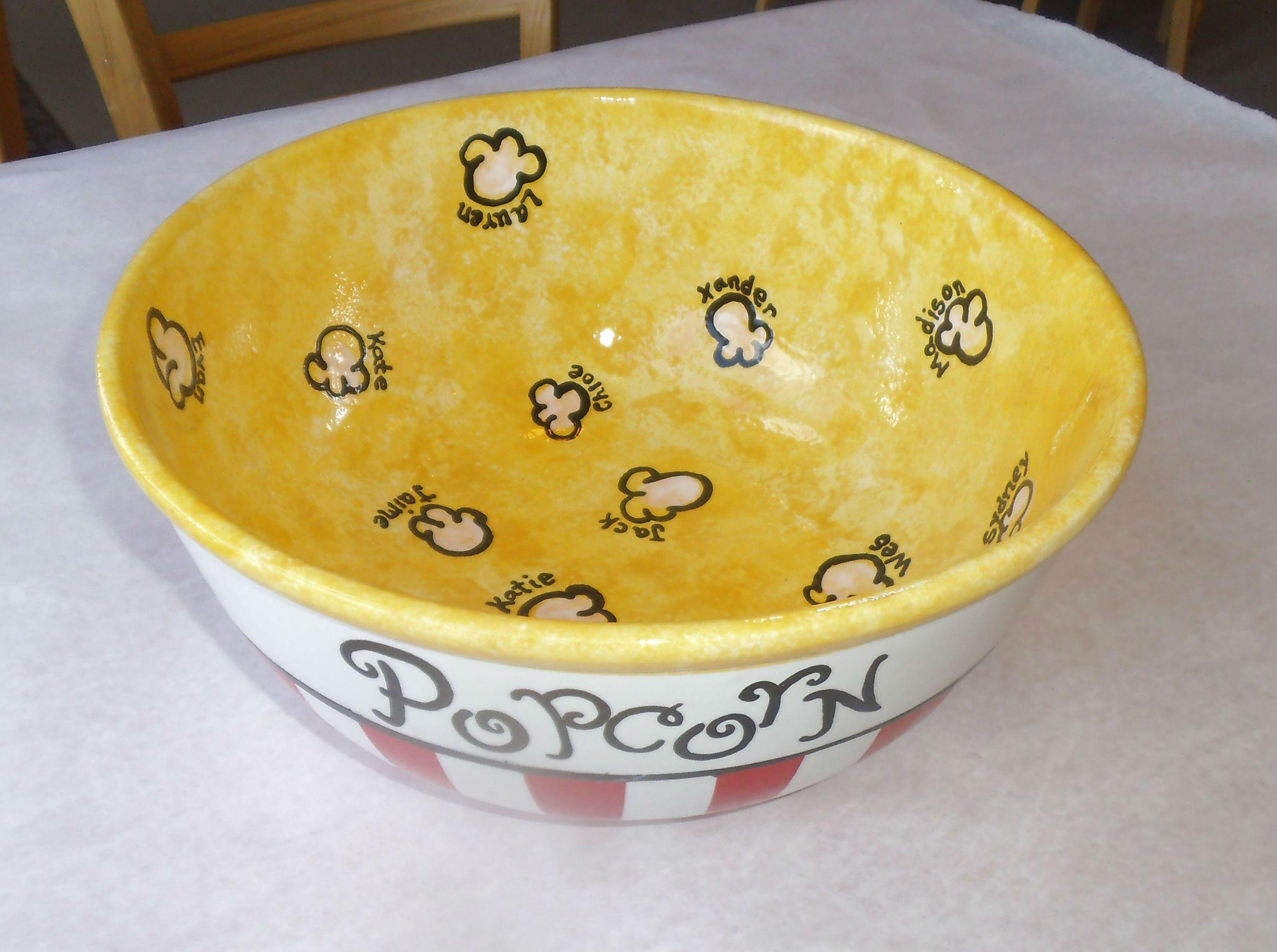 fingerprint Popcorn bowl painted by staff at Color Me Mine ...