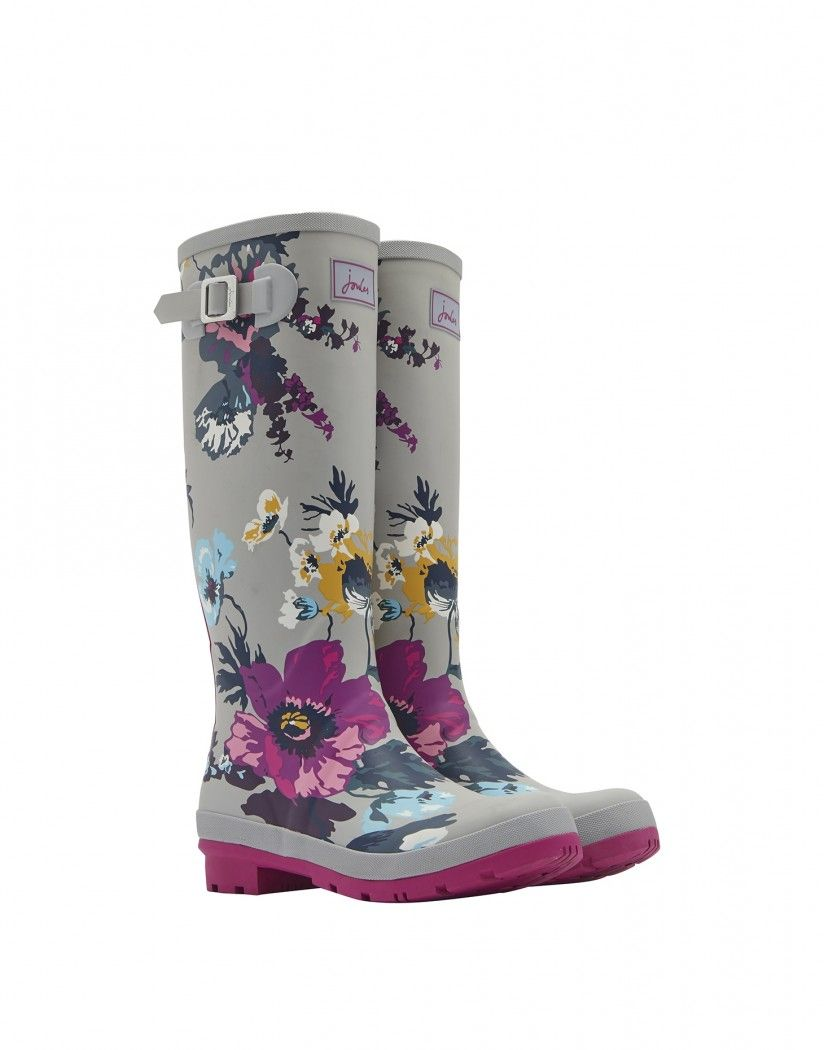 Joules Womens Wellyprint Printed Wellington Boots  Silver Posy Print  XWELLYPRINT  Country Attire