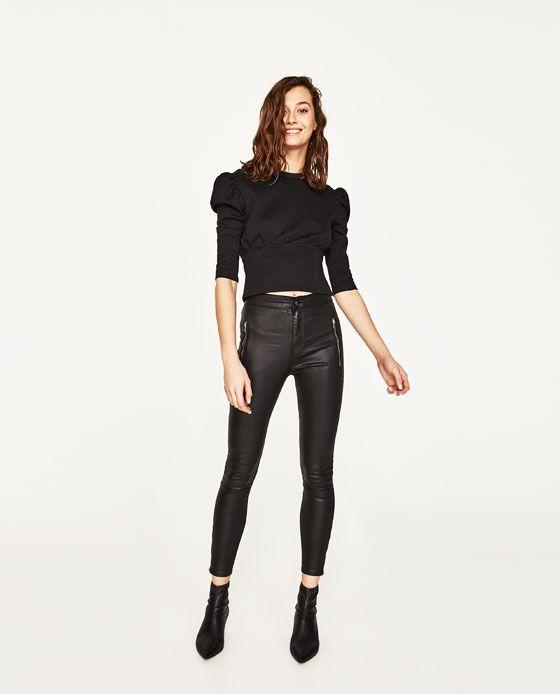 104267fe PANTALÓN TIRO ALTO ENCERADO | zara | Trousers women, Zara women ...