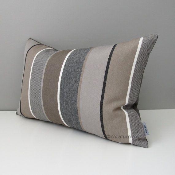 Grey Brown Sunbrella Pillow Cover Decorative Outdoor Pillow Cover
