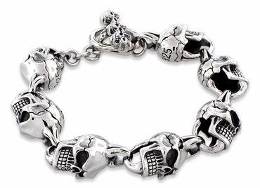 Sterling Silver Skull Bracelets Mens Bone Bracelet