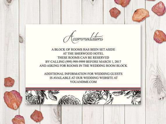Black Roses Wedding Accommodations Template Classic Roses - Wedding invitation templates: hotel accommodations template for wedding invitations