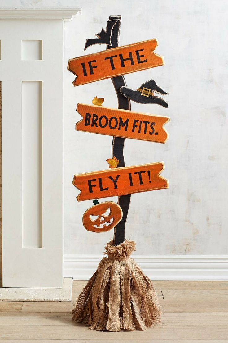 If the broom fits, fly it! Cute Halloween Pumpkin Decor Ideas Fall - Homemade Halloween Decorations Pinterest