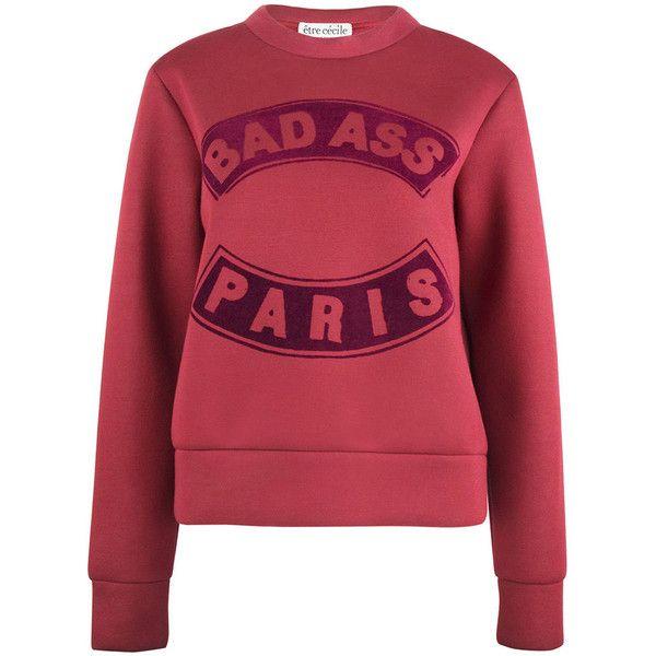 Etre Cecile  - BADASS FLOCK printed Slim Fit sweatshirt (650 BRL) ❤ liked on Polyvore featuring tops, hoodies, sweatshirts, neoprene sweatshirt, slim fit sweatshirt, red sweatshirt, neoprene top and red top