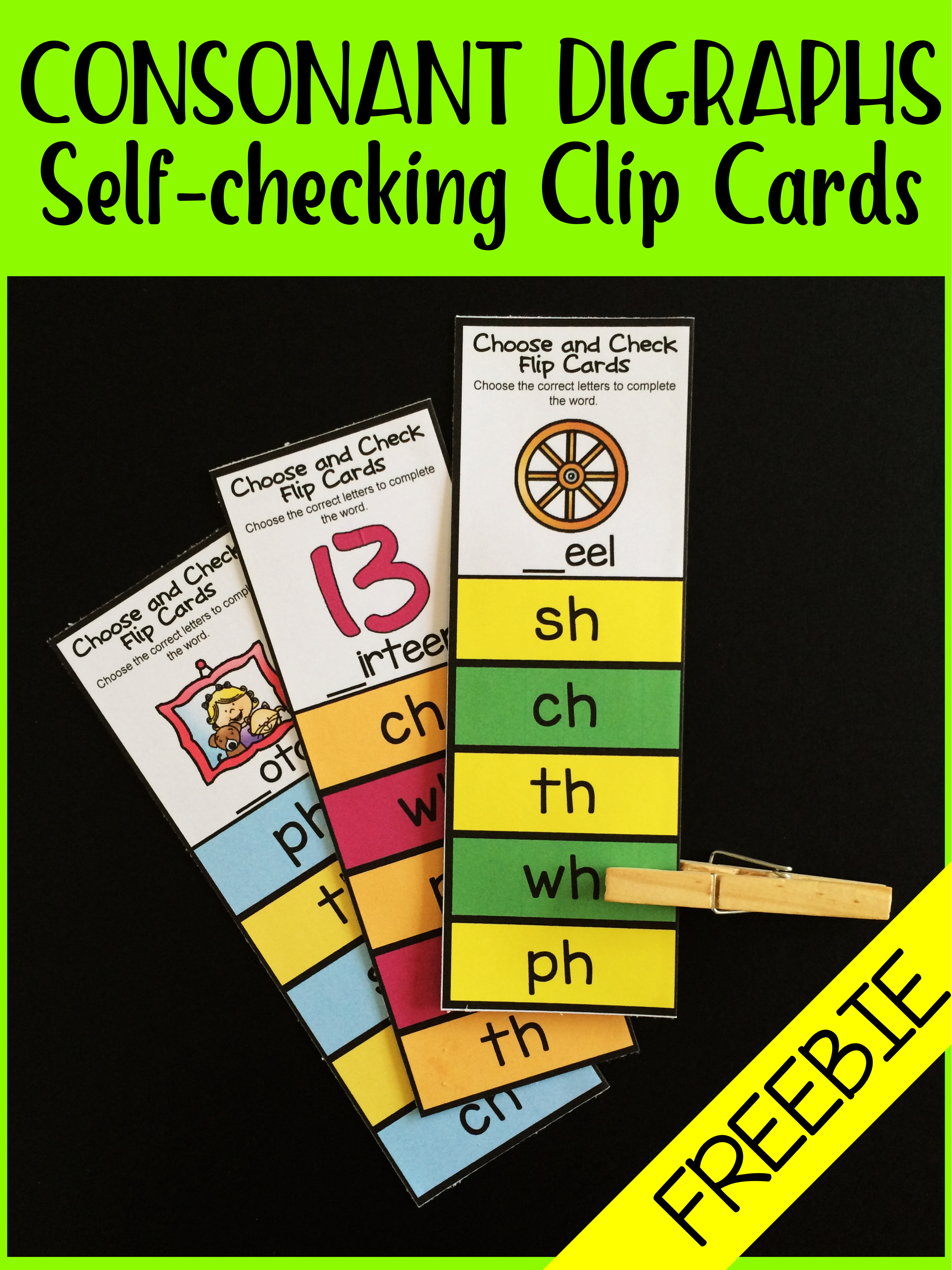 Free Pack Of Consonant Digraphs Self Checking Clip Cards