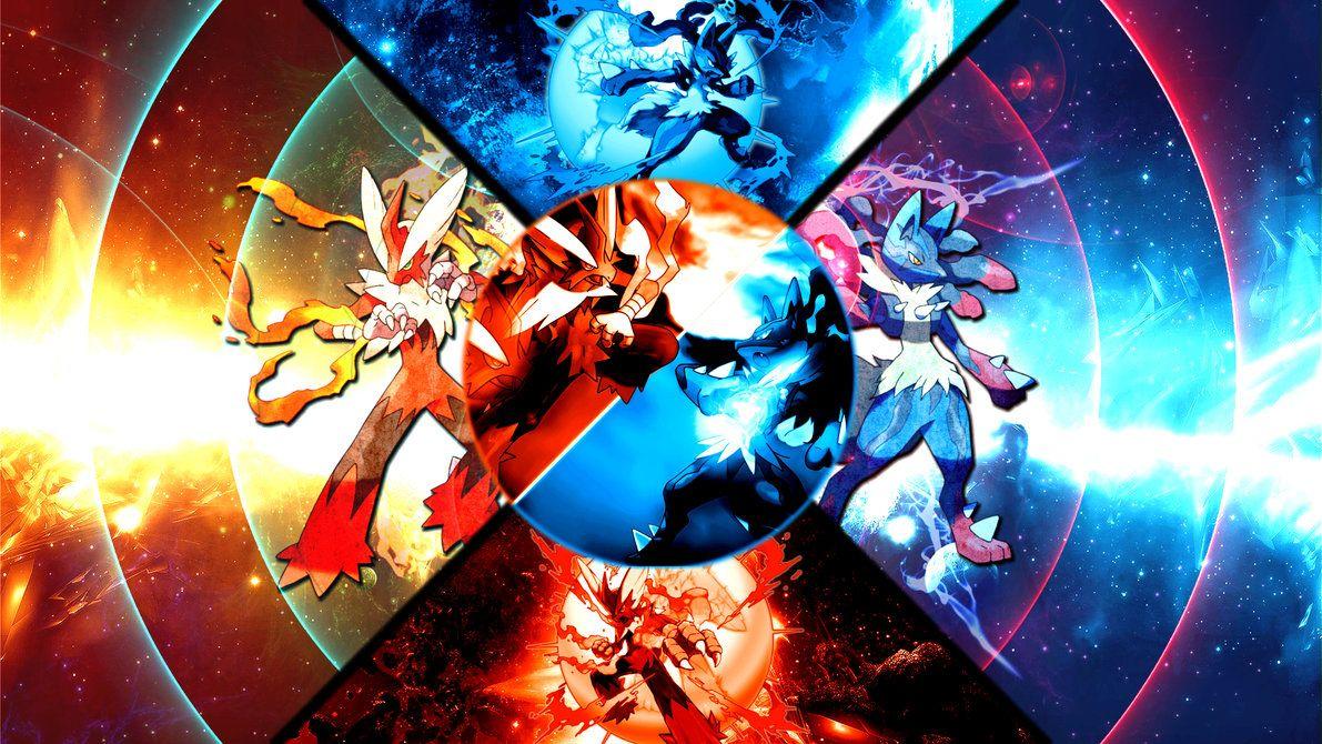 Mega Blaziken VS Mega Lucario Wallpaper by FRUITYNITE on