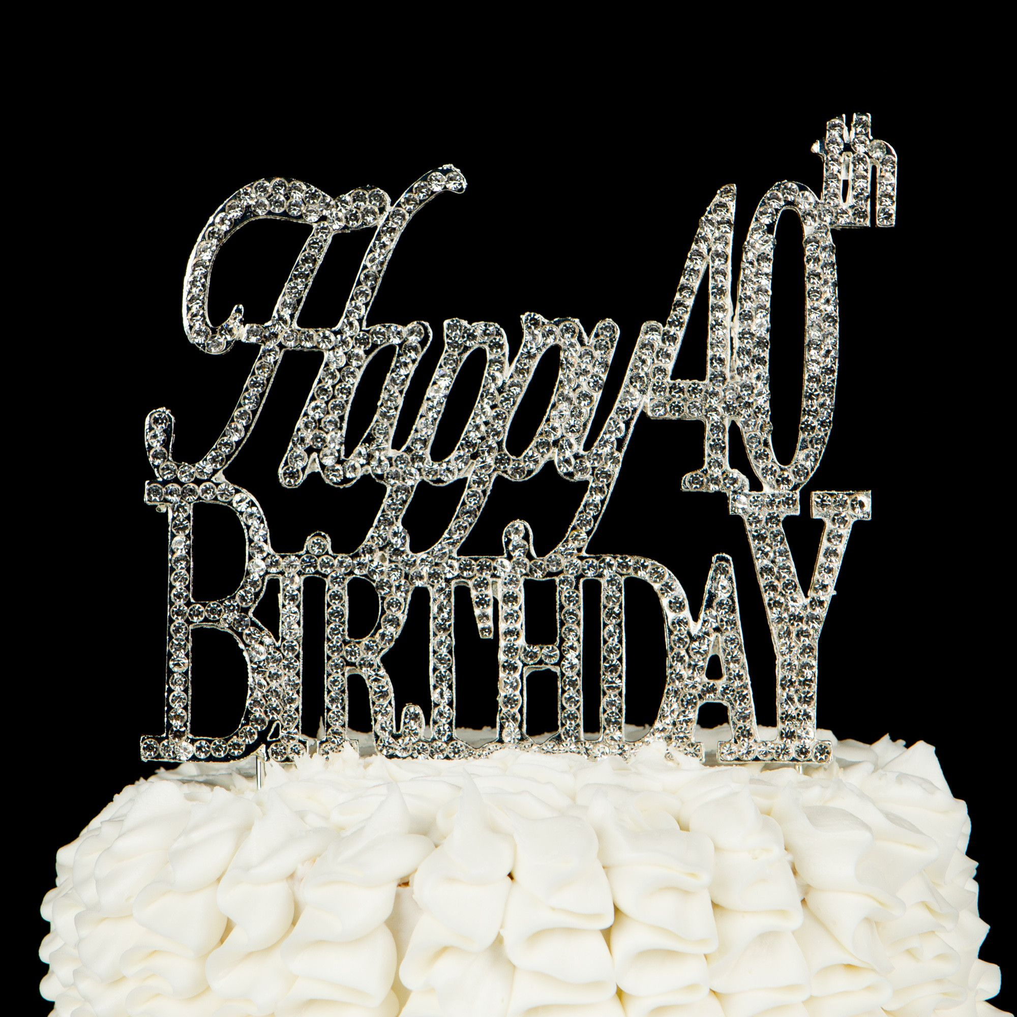 40th birthday cake toppers happy 40th birthday cake topper silver sparkle 1116
