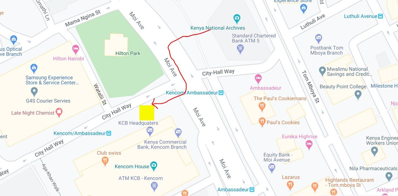 How to get to NTSA offices Upper Hill from Nairobi CBD by
