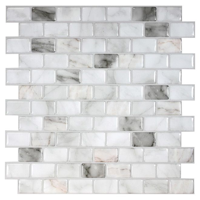 Self Adhesive Wall Tile Ravenna Blanco Marble 6 Pack Rona