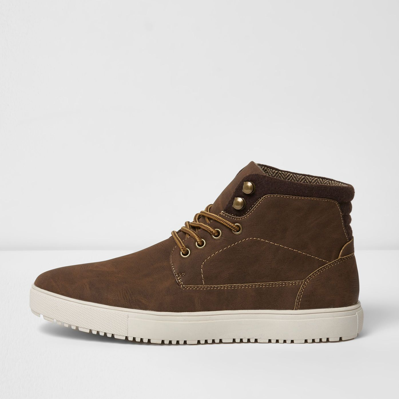 Brown lace-up hi top trainers - trainers - £35