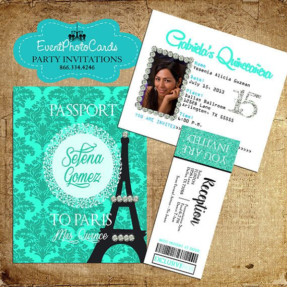 458f7c7477312 Quinceanera Paris Passport Invitations Sweet by EventPhotoCards Decoracion  Quince Años