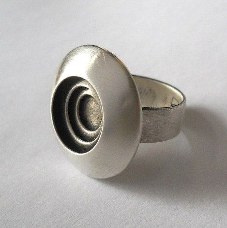 domed bullseye ring made to order sterling by Q2jewelrycollection