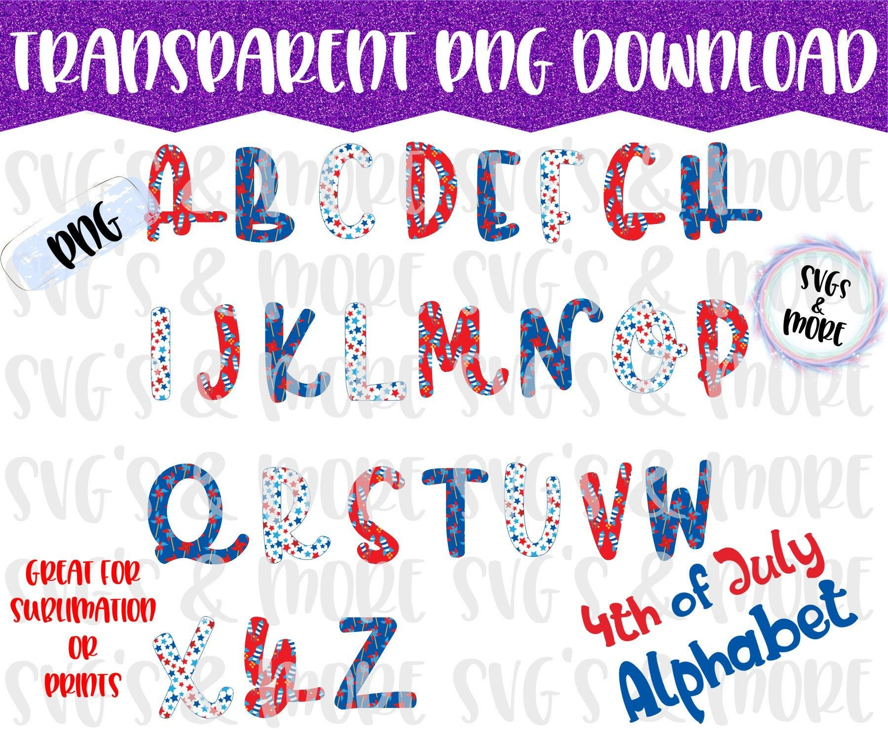 Alphabet Letters 4th Of July Pattern Font Transparent Png