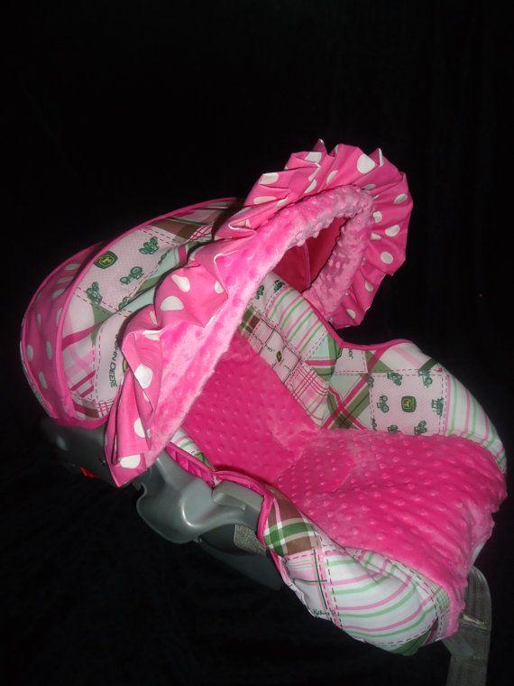 Pink John Deere Baby Car Seat Cover. $70.00, via Etsy.