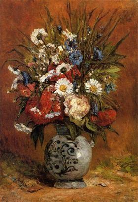 Daisies and peonies in blue vase - Paul Gauguin