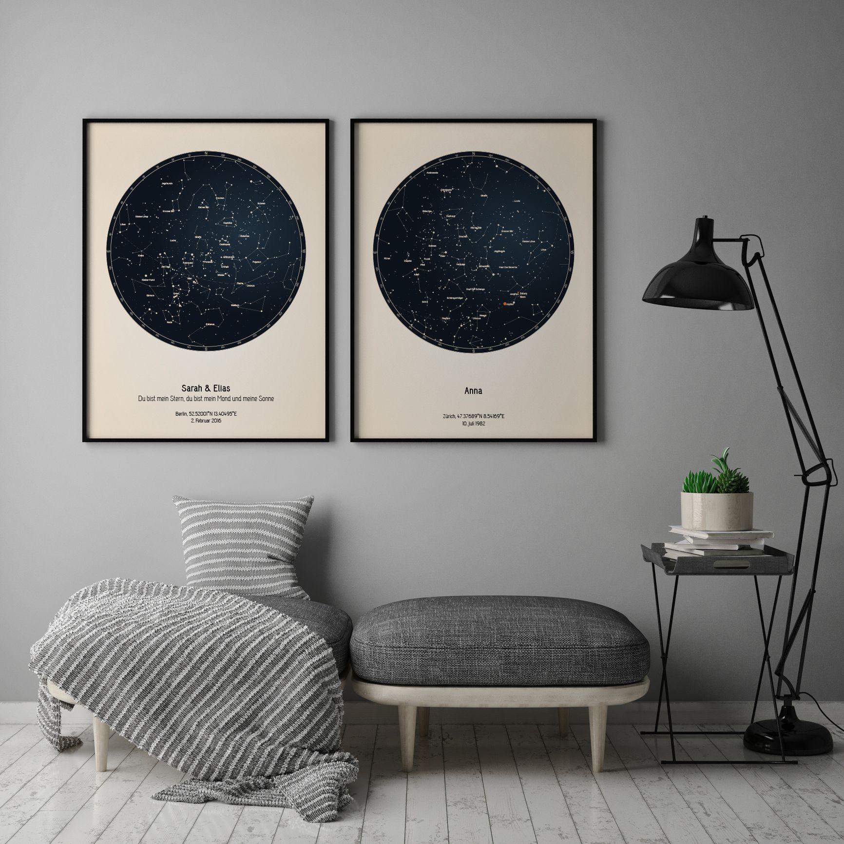 Sternenhimmel Poster   Persönliche Sternenkarte   Strellas.com ...