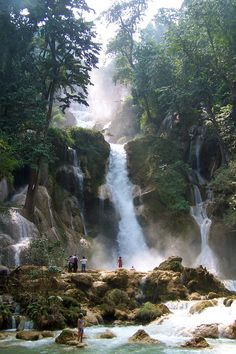 Kuang Si Waterfall, Laos - I have been here and it is a beautiful as the picture. Will definitely be goiing back to Laos in the future – #cop21 #globalwarming #climatechange More at http://www.GlobeTransformer.org