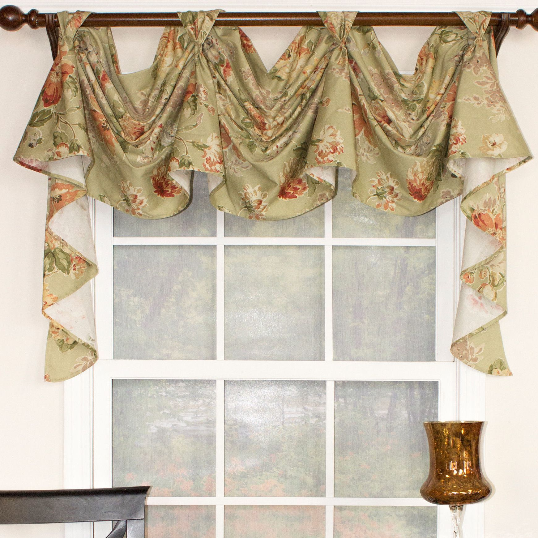 floral essence 3 scoop victory swag curtain valance. Black Bedroom Furniture Sets. Home Design Ideas