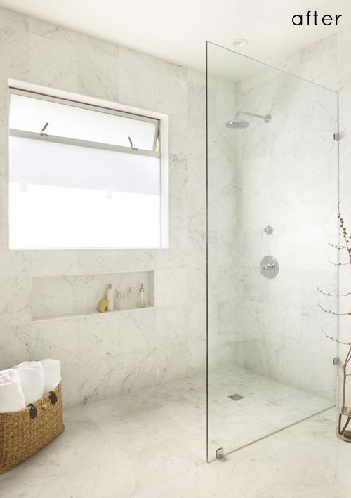 before  after bathroom remodel, via design sponge what a huge - Bathroom Glass