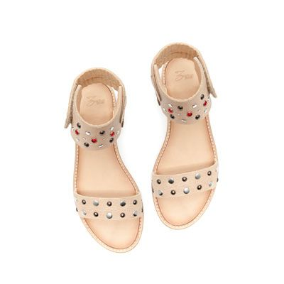 Leather Sandal With Stud Detailing Shoes Girl Kids Zara United States Cute Shoes Girls Shoes Baby Shoes