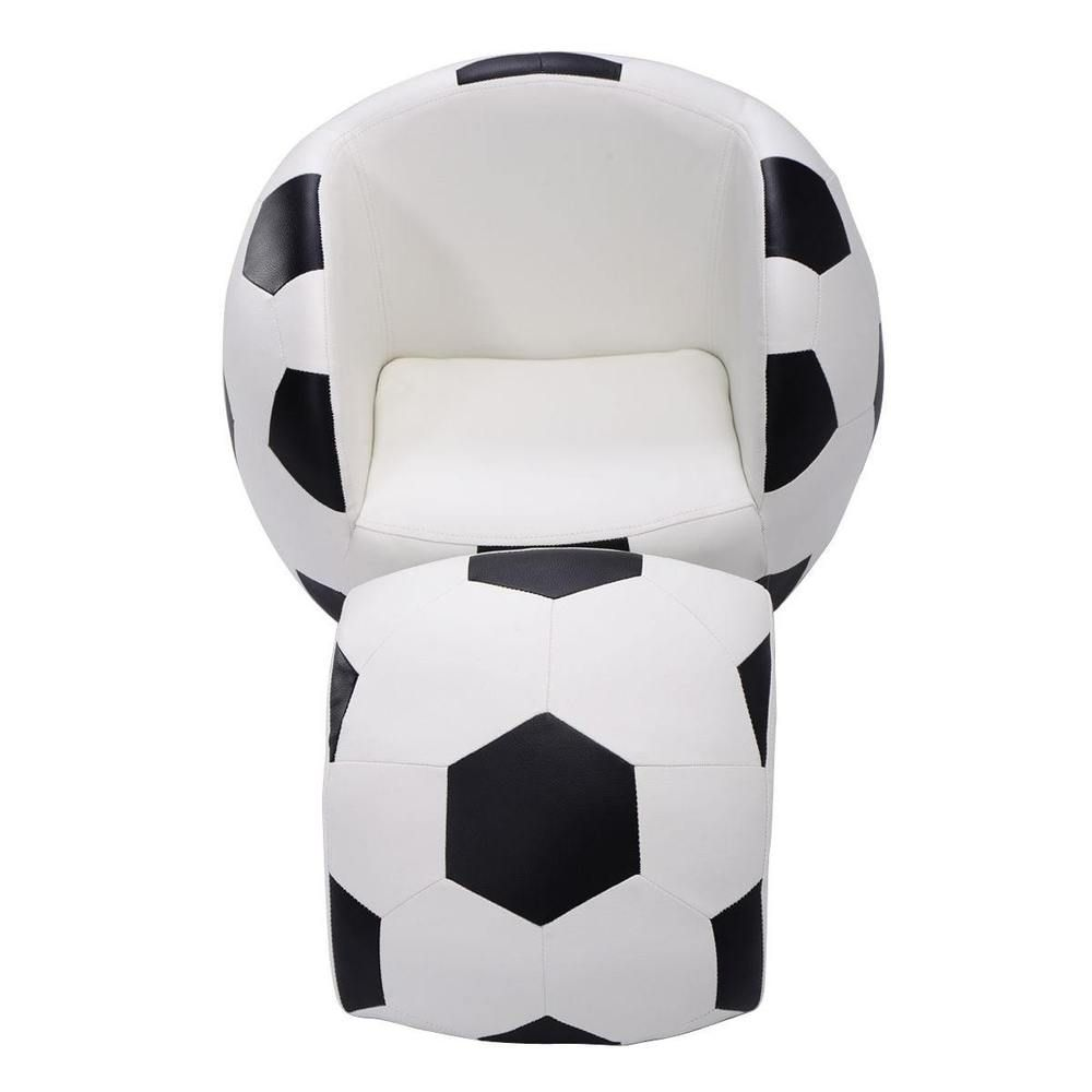 Kids Sofa Couch Soccer Shaped Chair Lounger With Soccer Piece