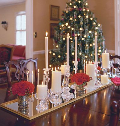 Christmas Tablescape Using Candles Flowers And A Mirror Pretty Christmas Table Decorations Christmas Table Centerpieces Christmas Candles