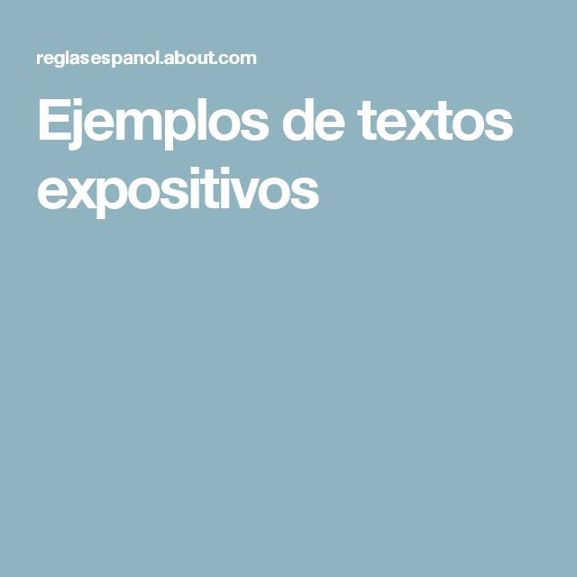 Texto expositivo ejemplo