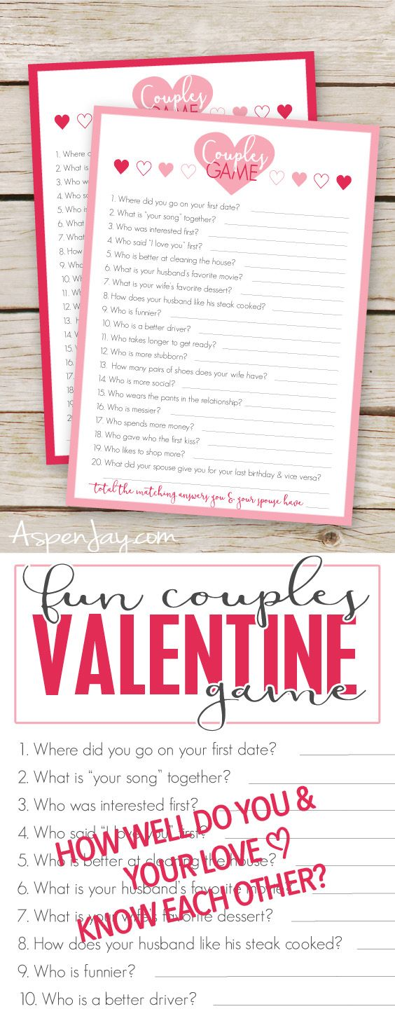 free valentines couples game cards couple games free printable