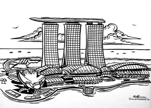 down the bay coloring pages | Singapore skyline illustration (watermarked) | PROJECT ...
