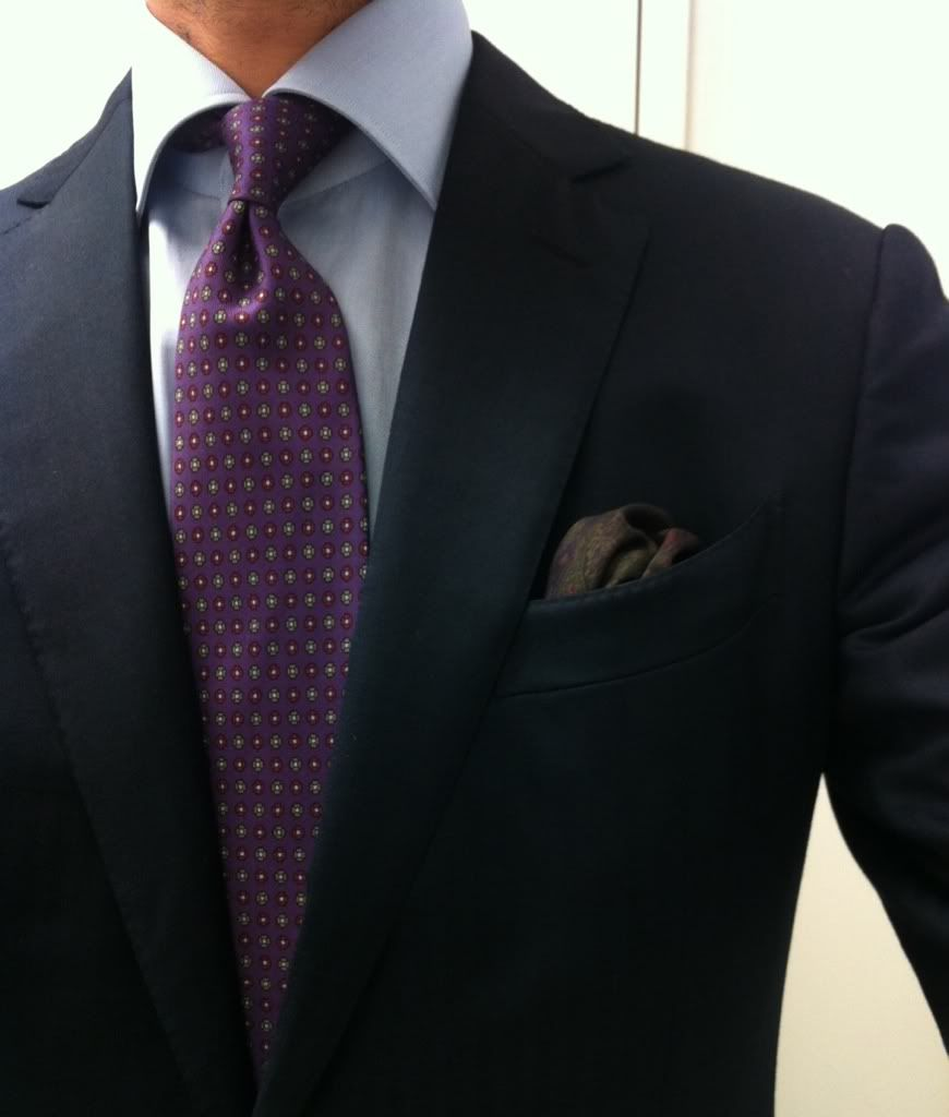 Navy Suit, Purple Tie, Light Blue Shirt