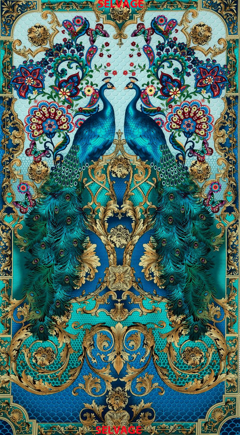 Turquoise color Peacock print fabric from Timeless Treasures