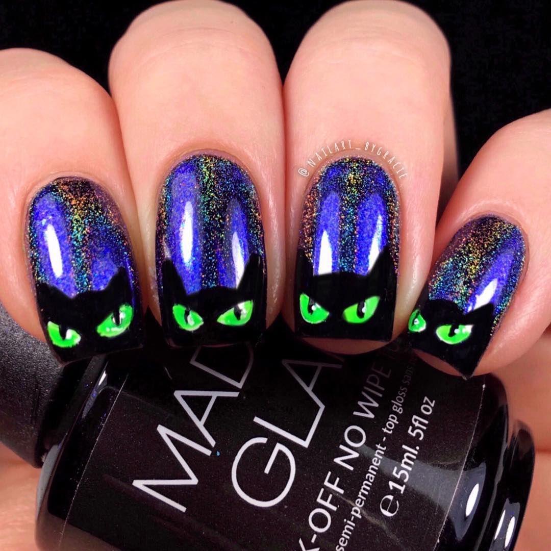 Halloween Cat Nail Art | Amazing halloween makeup, Cat ...